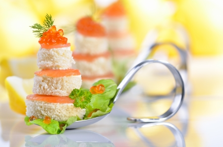 beautiful salad: Fish appetizers with salmon and caviar Stock Photo