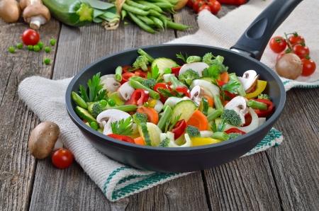 skillet: Mixed fresh vegetables in a skillet