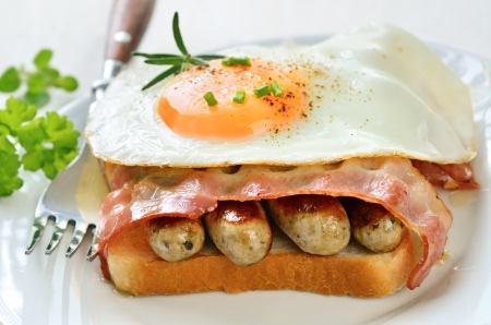 Toast with fried sausages, bacon and egg Stock Photo - 18855648