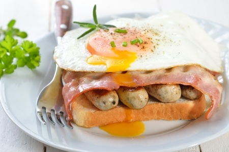 Breakfast toast with fried sausages, bacon and egg Stock Photo - 18855647