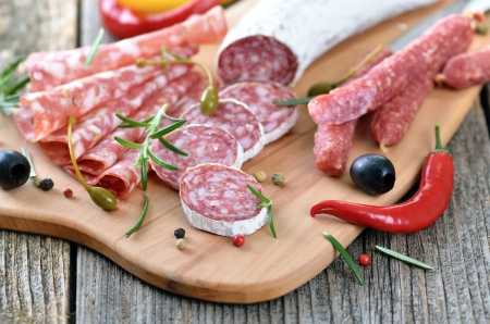 Salami snack with Italian and French salami Stock Photo - 19380818