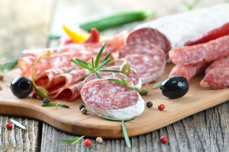 Salami snack with Italian and French salami Stock Photo - 19380817