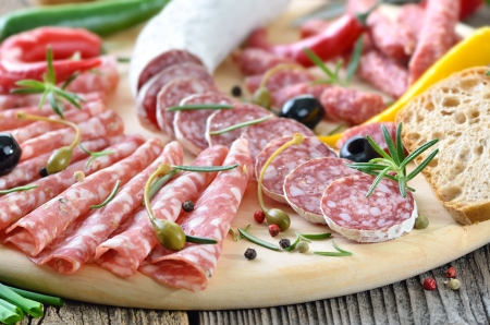 Salami snack with Italian and French salami Stock Photo - 19380819