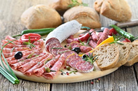 Salami snack with Italian and French salami Stock Photo - 19380820