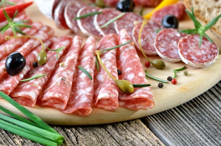 Salami snack with Italian and French salami Stock Photo - 19380811