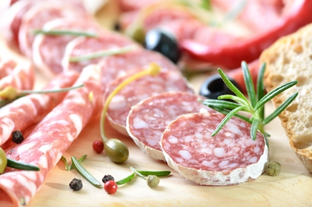 Salami snack with Italian and French salami Stock Photo - 19380793