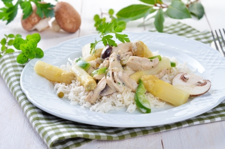 Chicken fricassee with fresh white asparagus and rice Stock Photo - 19586562