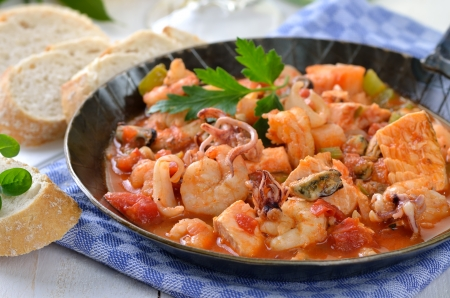 Seafood ragout in a pan