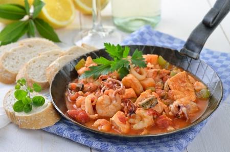ragout: Seafood ragout in a pan
