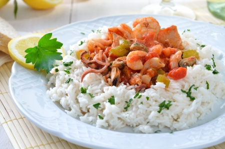 Seafood ragout with rice Stock Photo - 20243444