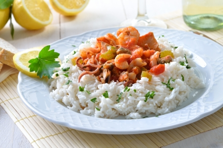 Seafood ragout with rice Stock Photo - 20243446