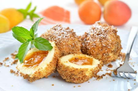 Sweet apricot dumplings Stock Photo - 20919097