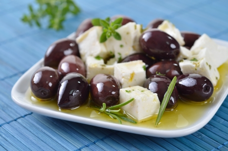 Greek olives and feta cheese Stock Photo - 21042368