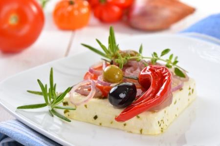 Baked Greek feta cheese Stock Photo - 21042373