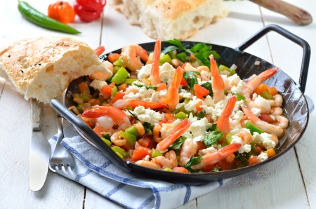 Greek saganaki with shrimps, vegetables and feta cheese Stock Photo - 21478923