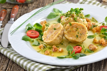 South Tyrolean bread dumplings with spinach and cheese