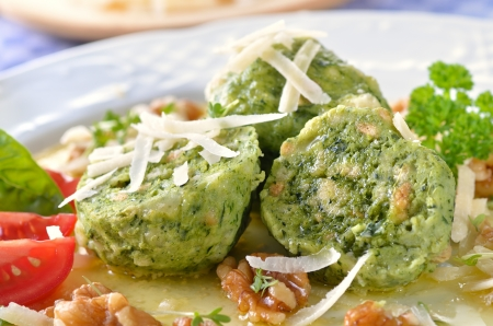 South Tyrolean bread dumplings with spinach and cheese Stock Photo - 22023145