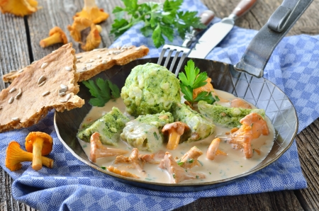 Fresh chanterelles with cream sauce and spinach bread dumplings Stock Photo - 22023151
