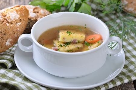 bacon bits: Austrian soup with salted ham biscuits