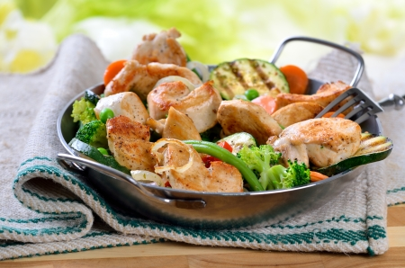 Fried fillet of chicken with mixed vegetables  photo