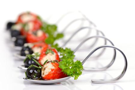Hot Greek appetizers with stuffed hot cherry peppers Reklamní fotografie - 36631016