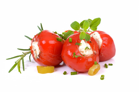 Red hot  cherry peppers stuffed with feta and cream cheese