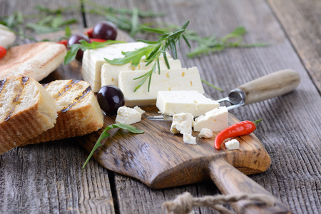 feta cheese: Greek snack with feta cheese, olives and pita bread Stock Photo