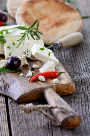 pita bread: Greek snack with feta cheese, olives and pita bread Stock Photo