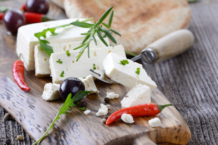 Greek snack with feta cheese, olives and pita bread Stock Photo