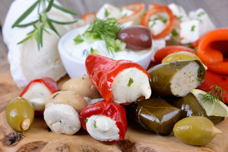 A selection of typical Greek appetizers