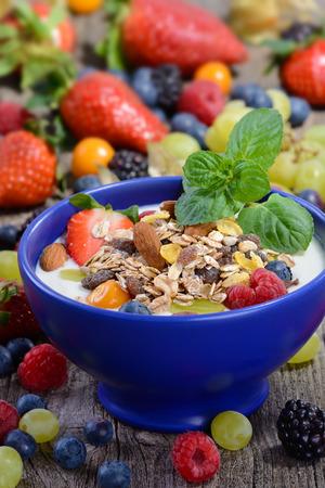 yogurt natural: Yogur natural con muesli y fruta fresca mezclada en un tazón de cerámica azul Foto de archivo