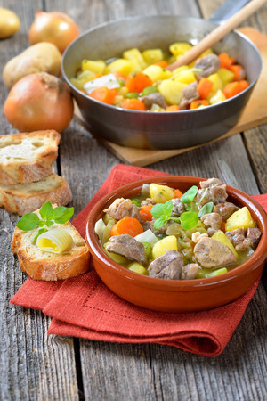 lamb: Homemade braised Irish stew with lamb, potatoes and other vegetables