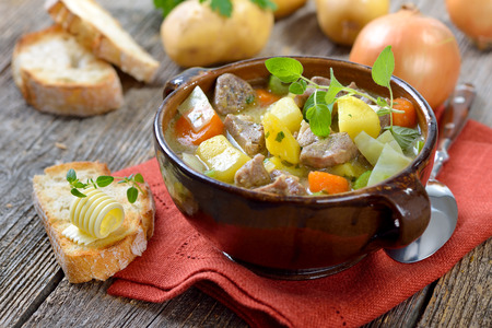 meat soup: Homemade braised Irish stew with lamb, potatoes and other vegetables