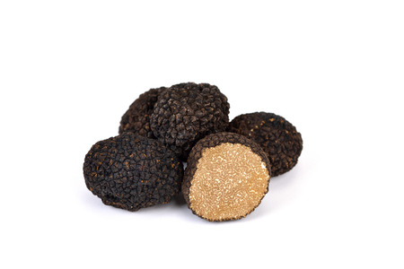 Black autumn truffles from France on a white background - tuber uncinatum
