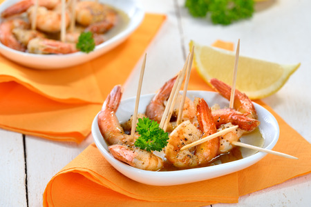sherry: Spanish tapas - spicy fried prawns with olive oil, sherry and garlic