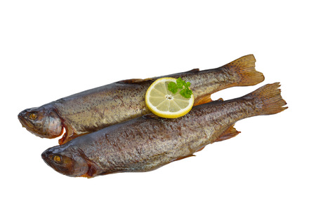 salmo trutta: Two smoked rainbow trouts isolated on white background Stock Photo