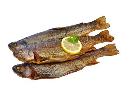 salmo trutta: Three smoked rainbow trouts isolated on white background Stock Photo