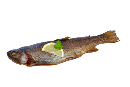 salmo trutta: One smoked rainbow trout isolated on white background Stock Photo