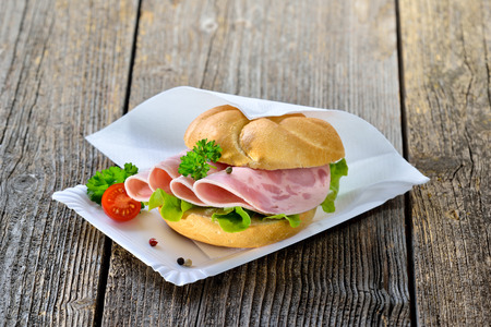 german sausage: Crispy roll with sliced ??ham sausage on a paper plate with a napkin