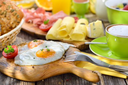 luxuriant: Outside served luxuriant breakfast with fried eggs a wide selection of other foods