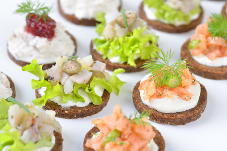 Tasty fish finger food with smoked salmon tartar on horseradish, trout mousse with cranberries and herring salad on pumpernickel bread Stock Photo