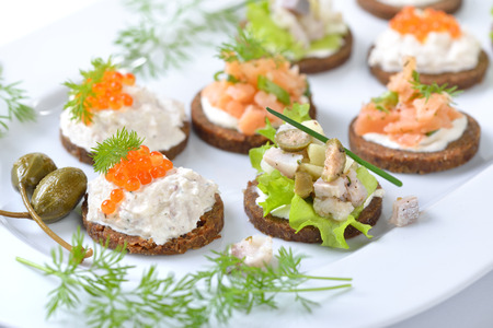 Tasty fish finger food with smoked salmon tartar, trout mousse with caviar and herring salad on pumpernickel bread Reklamní fotografie