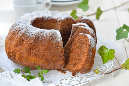 Freshly baked ring-shaped cake with chocolate, so called Gugelhupf in Austria and Germany