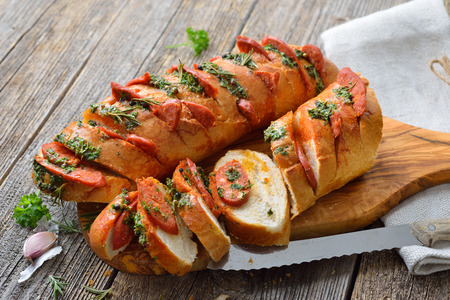 Chorizo salami on roasted bread