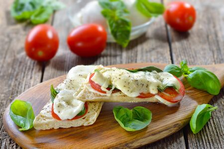 Baked panini caprese with tomato, melted mozzarella and basil, served on a wooden cutting board Imagens