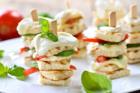 Hot appetizers with buffalo cheese, tomatoes and basil on wooden skewers