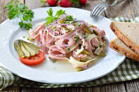 Hearty Bavarian sausage salad with cheese strips, pickles and rustic farmhouse bread Reklamní fotografie