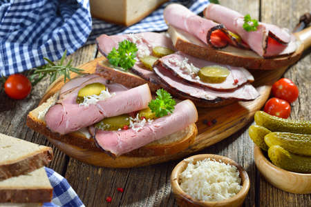 Bavarian snack with smoked country ham with freshly grated horseradish on hearty farmhouse bread