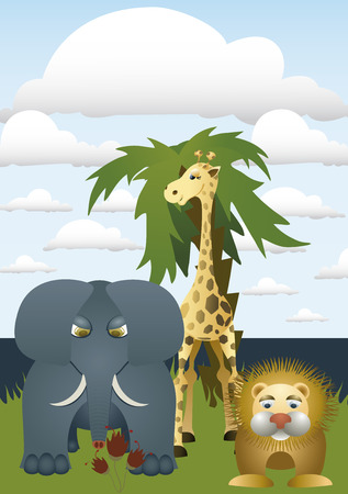 African animals - lion, elephant and giraffe. It stands on an island with palm tree. Stock Vector - 5606674