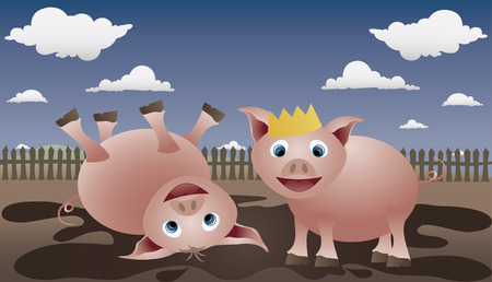 Two pigs play in the mud. Piglet is the king of dirt. Vector